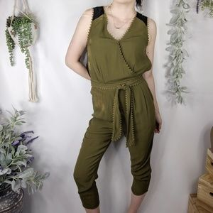 LEIFSDOTTIR lace back jogger jumpsuit green NEW